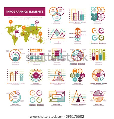 Set Infographics Elements Different Types Graphics Stock Vector