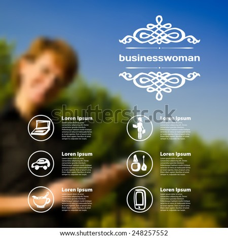 Set of infographics on blurred photographic background on the topic of business woman - stock vector