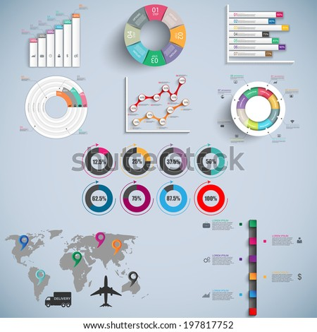 Set of Infographics vector design template - stock vector
