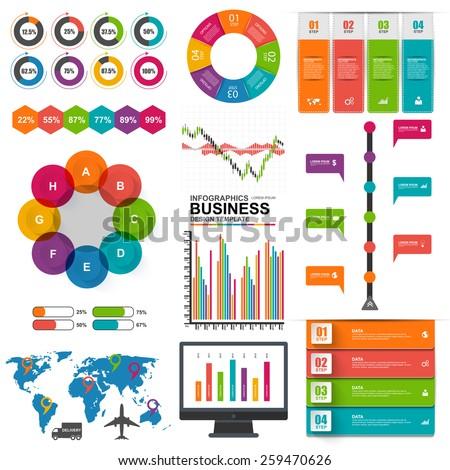 Set of Infographics vector design template - stock vector