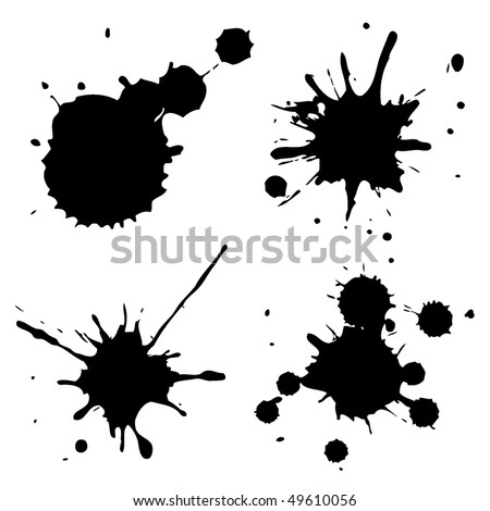 Set of ink blots in black and white. - stock vector