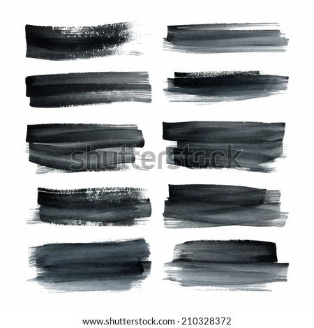 Set of ink hand painted stripes. Brush strokes. Hand drawn elements for design. Abstract vector strips on the white background. - stock vector