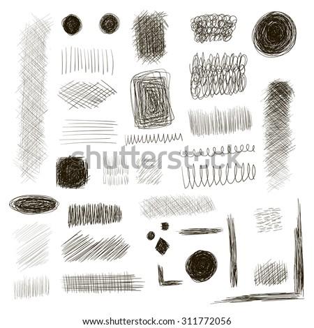 Set of ink lines doodle. Scribbles of pen, hatching, scratch - stock vector