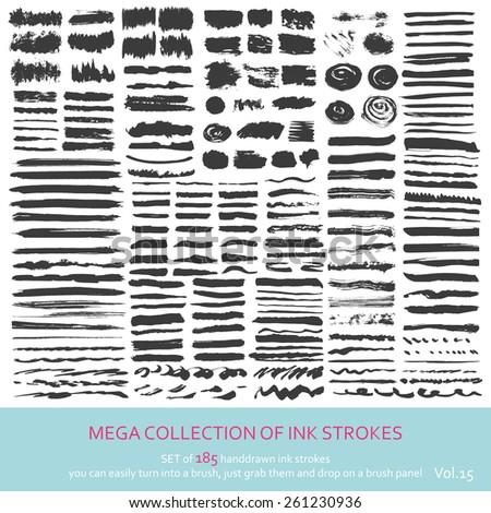 Set of  ink strokes - stock vector