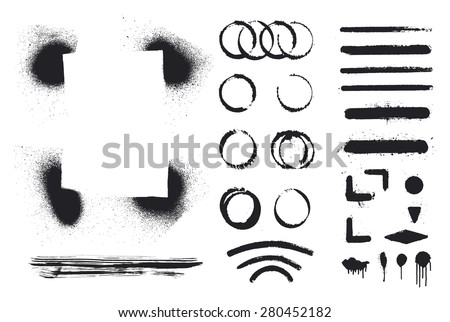 set of inky and stencil shapes - stock vector