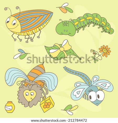 Set of insects. Beetle, Caterpillar, Bee, Dragonfly