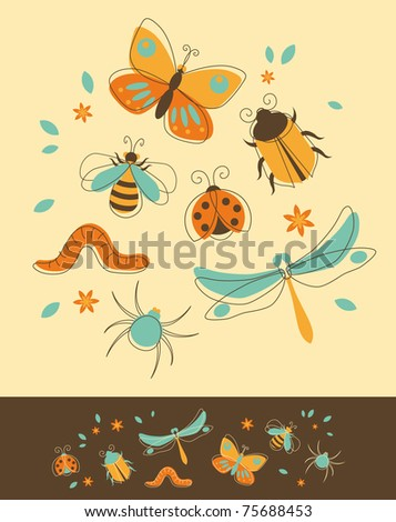 Set of Insects in Retro-Styled - stock vector