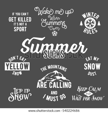 Set of inspirational phrases. Inspirational words. Motivational quote. Famous quotes about winter sports. Snowboarding, ski, winter skates. Monochrome version, retro vintage hipster style typography