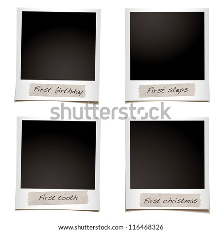 Set of instant photos with space for first steps and christmas photographs - stock vector