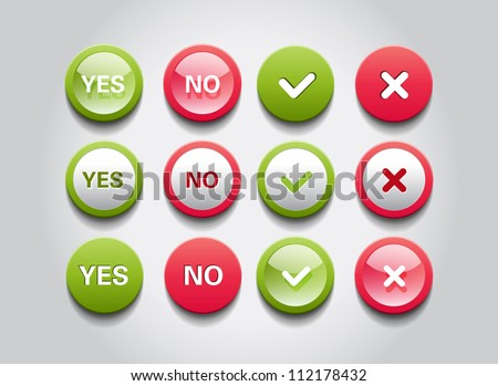 Set of interface buttons OK, Cancel, Yes, No - stock vector