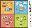 Set of 4 internet concepts: e-commerce, e-learning, e-business, social media. Flat design vector icons. - stock vector