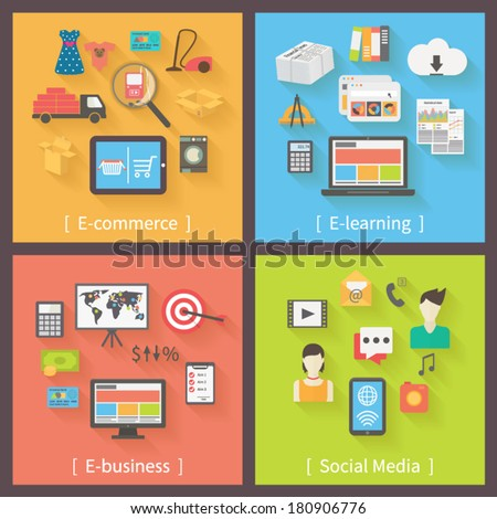 Set of 4 internet concepts: e-commerce, e-learning, e-business, social media. Flat design vector icons. - stock vector