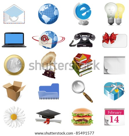 Set of internet icons. All elements are individual objects. Vector illustration scale to any size. - stock vector
