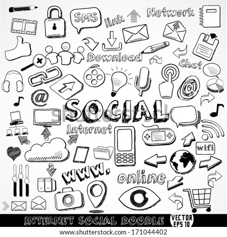Set of Internet social strategy doodle element, vector illustration  - stock vector