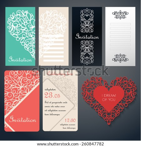 Set of invinanion cards with swirly paper decor on red, green, black and white. Invitation card - stock vector
