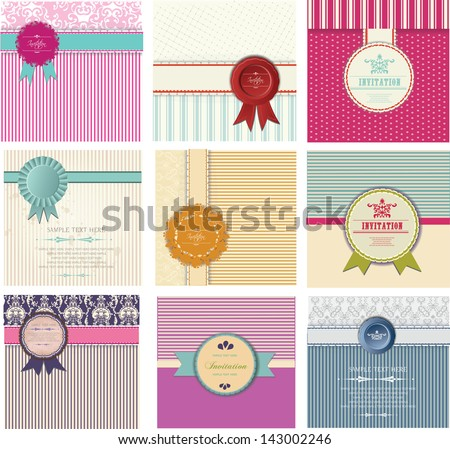 set of invitation cards, announcement - stock vector