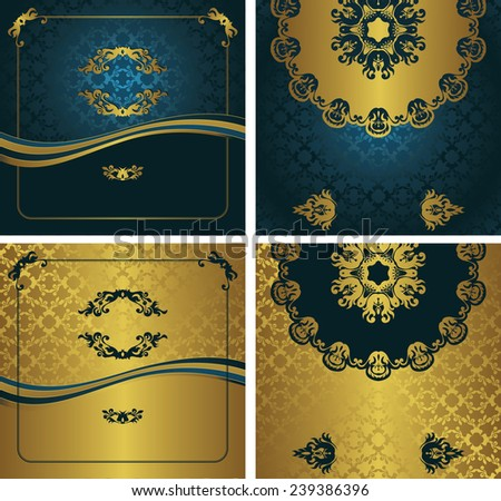 Set of invitations on seamless background in blue and gold                    - stock vector