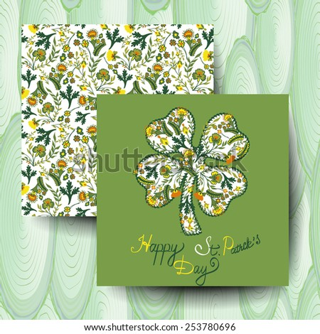 Set of invitations St. Patrick's Day with floral background - stock vector