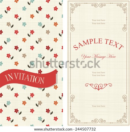 set of invitations with colorful flowers on texture background  - stock vector