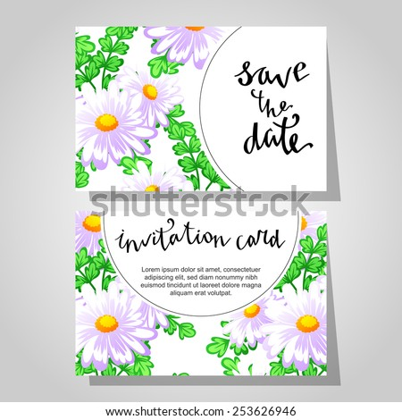 Set of invitations with floral background