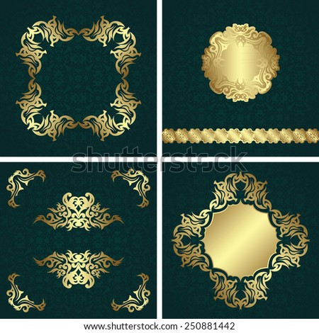Set of invitations with vintage decoration. Floral frames and decorative elements. All cards have seamless background. Original design                           - stock vector