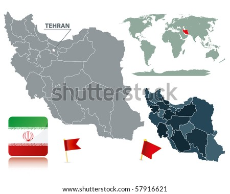 Set of Iran maps, red flag pins and flag icon. Cartography collection. - stock vector