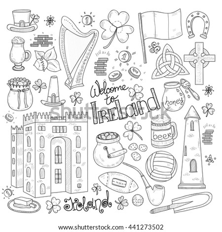 Set of Ireland related hand drawn icons including irish coffee; irish round tower and others. Doodle vector Ireland related collection - stock vector
