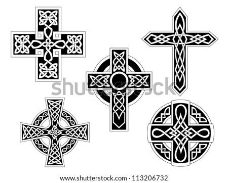 Set of irish celtic crosses logo. Vector illustration - stock vector