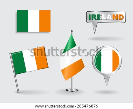 Set of Irish pin, icon and map pointer flags. Vector illustration. - stock vector
