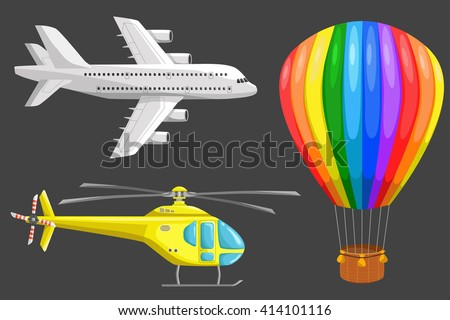Set of isolated air transport: plane, helicopter and aerostat. Color vector icons set. Airline service. Flying airplanes illustration - stock vector