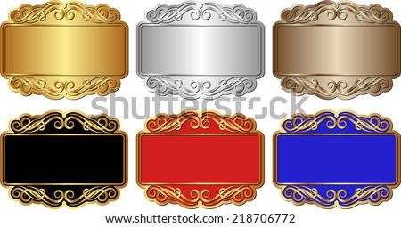 set of isolated banners with ornaments - stock vector