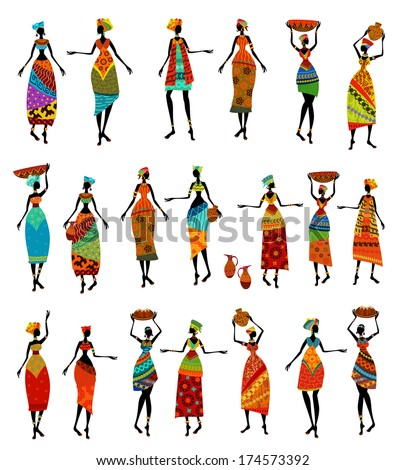 Set of isolated beautiful African women - stock vector