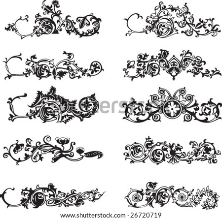 Set of isolated black decorative floral elements - stock vector