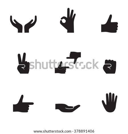 Set of isolated black icons on a theme hands