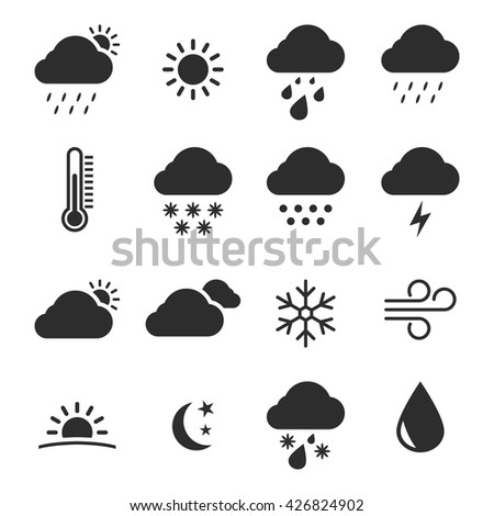 Set of isolated, black icons Weather Object, Picture