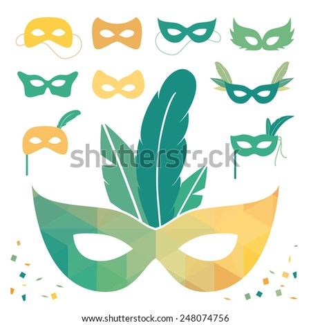 Set of isolated carnival masks, low poly colors - stock vector