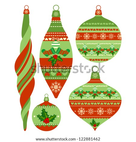 Set of Isolated Christmas Balls on White Background, Vector Version - stock vector