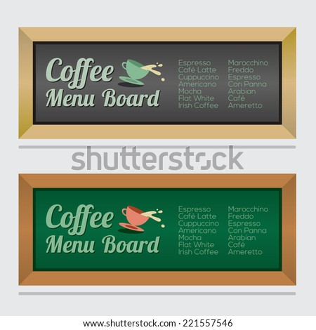 Set Of Isolated Coffee Menu Board Vector Illustration