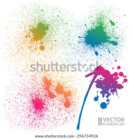Set of 4 isolated colorful gradient rainbow grunge paint splashes on white background. RGB EPS 10 vector illustration - stock vector