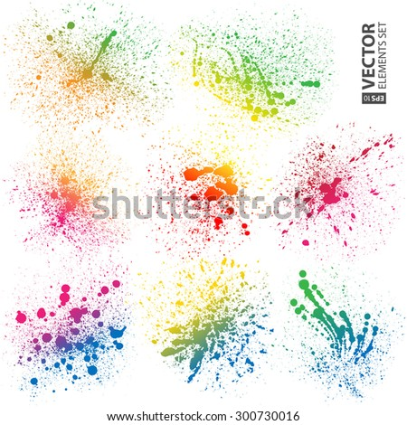 Set of 8 isolated colorful gradient rainbow grunge paint splashes on white background. RGB EPS 10 vector illustration - stock vector