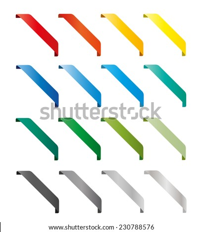 Set of isolated colorful vector ribbons. Round corner, light, shadow. Yellow, white, grey, orange, red, green, blue, black color - stock vector