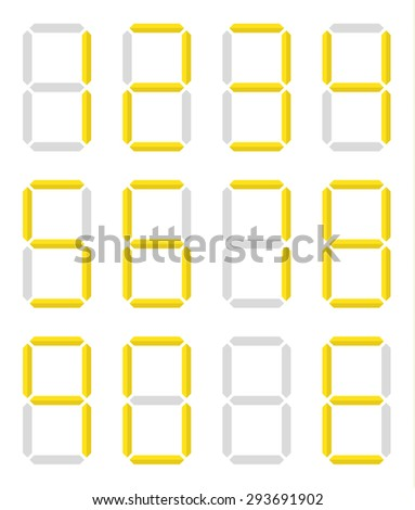 Set of isolated digital numbers in yellow color - stock vector