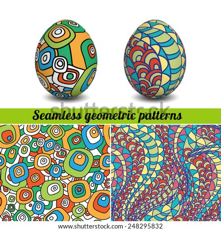 Set of Isolated Easter eggs and seamless geometric patterns. Happy Easter. Vector objects. 3D. Realistic Easter eggs. Vector background. Easter. - stock vector