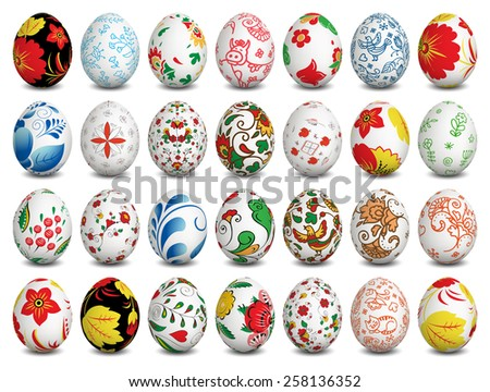 Set of Isolated Easter eggs. Happy Easter. Vector objects. 3D. Realistic Easter eggs. Vector background. - stock vector