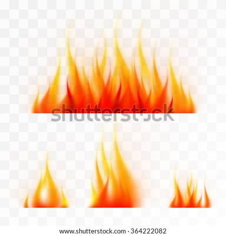 Set of isolated flames fire, good working on light background - stock vector
