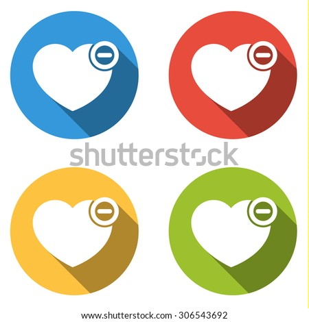 Set of 4 isolated flat colorful buttons (icons) for heart with minus - remove from favorites icon - stock vector