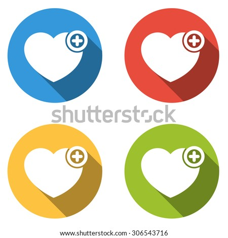 Set of 4 isolated flat colorful buttons (icons) for heart with plus sign - add to favorites icon - stock vector