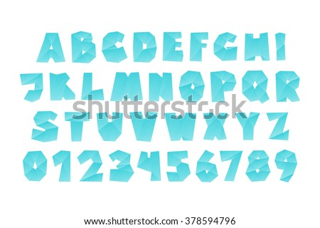 set of isolated fractal style, origami alphabet letters and numbers. vector, diamond font type design. glass and ice lettering typeface - stock vector