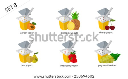 Set of isolated fruit and berry yogurt: apricot yogurt, cherry yogurt, strawberry yogurt, pineapple yogurt, pear, yogurt, yogurt with raisins. Set of 6 yogurt - stock vector