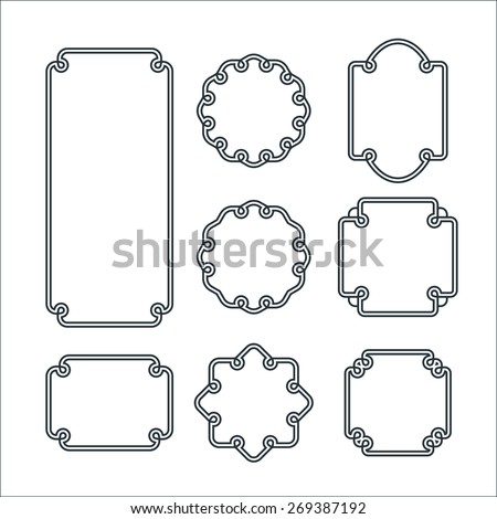 Set of 8 Isolated Graceful Frames. Vector Decorative Ornament Lines. - stock vector